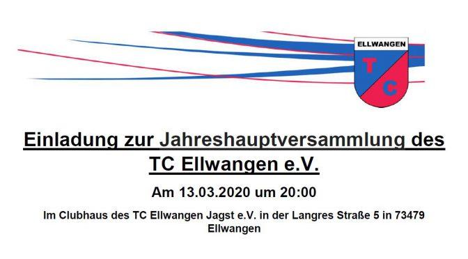 Einladung zur Jahreshauptversammlung des TCE